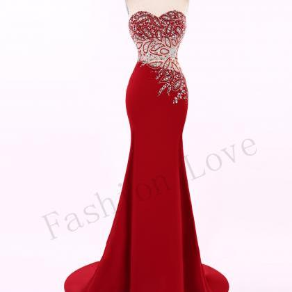 Red Luxury Beading Evening Dresses ..