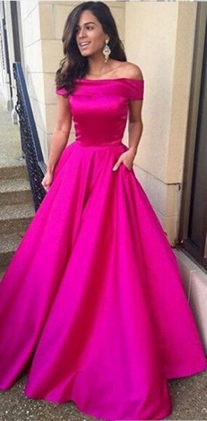 3b4aa0cc62e Off-the-Shoulder Satin A-line Long Prom Dress