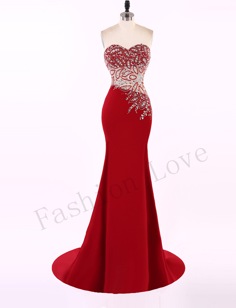 Red Luxury Beading Evening Dresses Formal Evening Gown