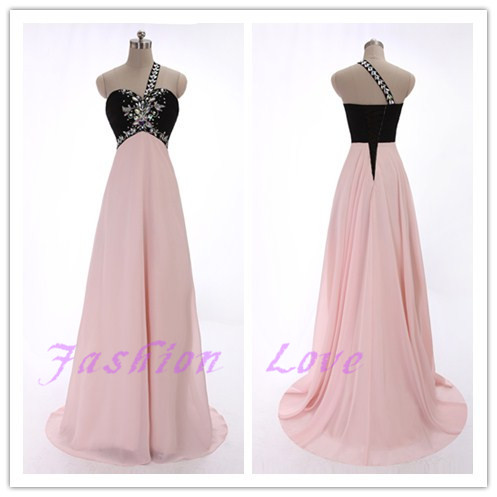 One Beading Shoulder Floor Length Prom Dress, Long Chiffon Party Dress, Beading Evening Dress, Real Photos Custom Made Women Dress