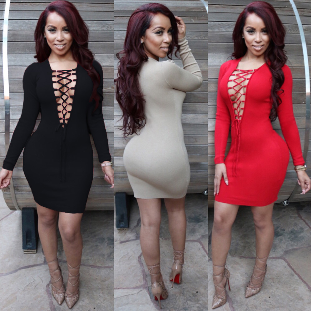 2016 New Sexy Women Club Dress, Lace Up Front Sexy Deep V Neck ...