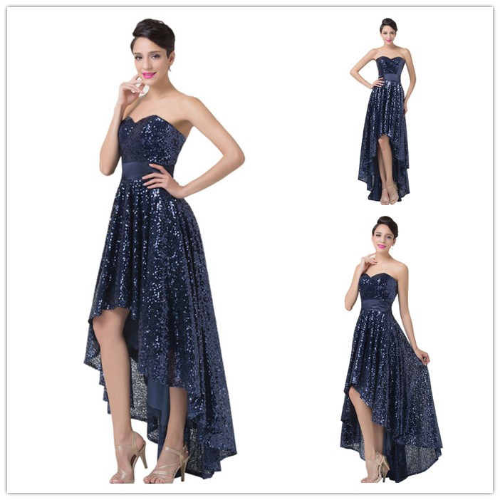 Navy Blue Sequin Prom Dress ,2016 New Asymmetrical Sequin Dress , Hot Sale Prom Dress Party Dress