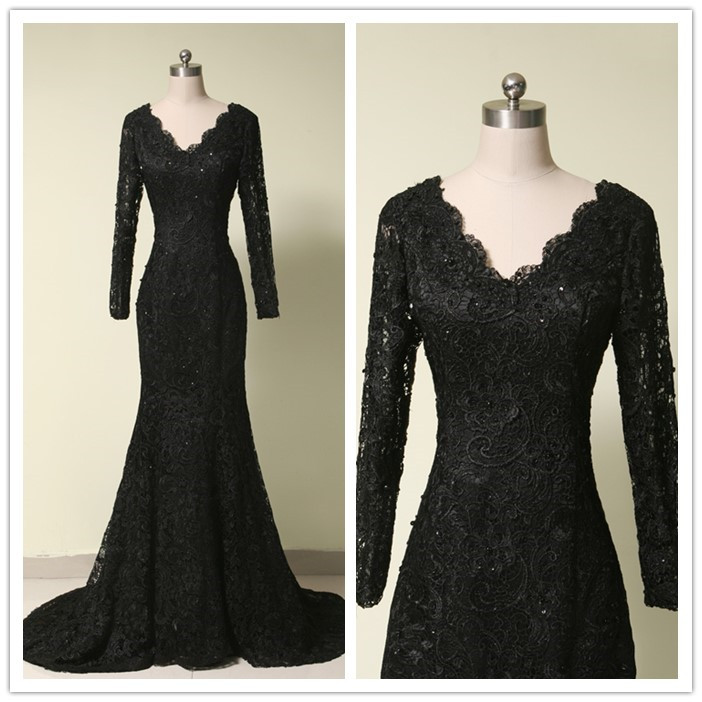 Long black strapless prom dress
