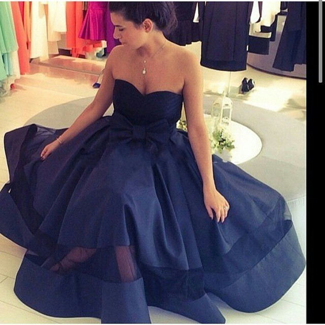 11acba801e Navy Blue Satin Prom Dress , Elegant Bow Prom Dress , Pleat Tulle  Sweetheart Prom Dress , Floor Length Prom Dress , Free Custom Made Prom  Dress