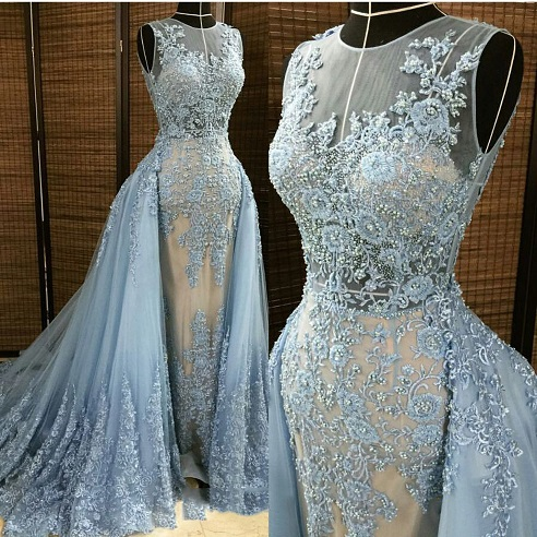 2016 new detachable train wedding dress embroidery prom dress 2016 new detachable train wedding dress embroidery prom dress light blue appliques mermaid wedding junglespirit Choice Image