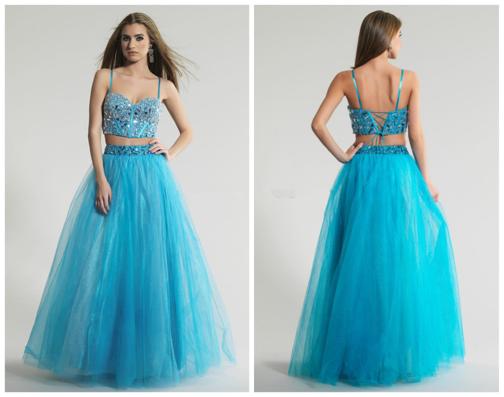 Two Pieces Prom Dress , Beading Prom Dress , Long Prom Dress , Sexy ...