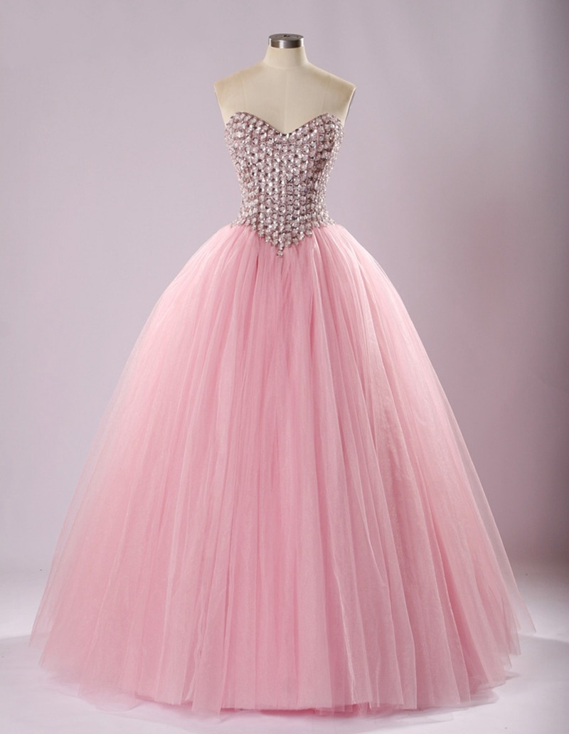 4412729517 Sweetheart Crystal Beading Tulle Floor-length Ball Gown