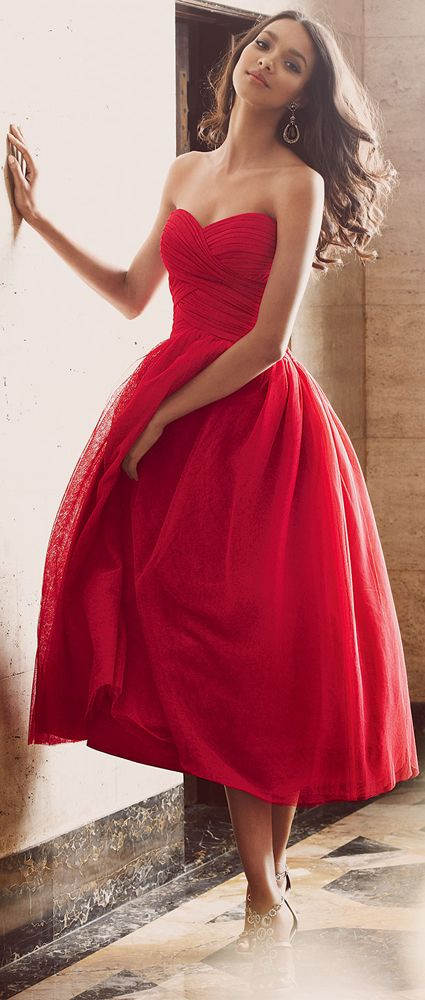 Strapless Tea Length Red Dress