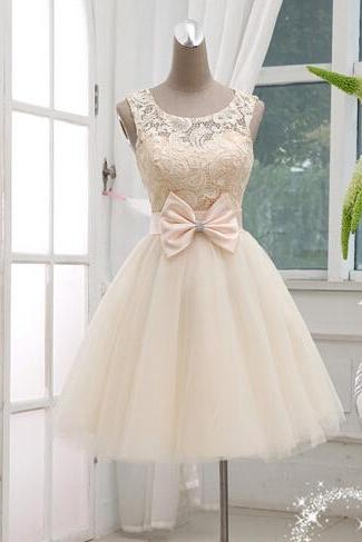Prom Dress , Cute Dress , Shiny Bow Short Dress , Lace Top , Cute Homecoming Dress , Party Dress , Free Custom Made Dress