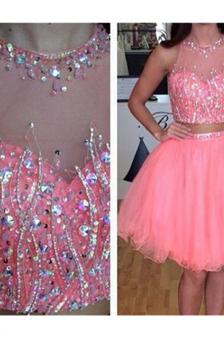 Two Pieces Prom Dress , Shiny Beading Prom Dress , Beautiful Prom Dress , Cute Dress , Soft Tulle Dress , Free Custom Made Dress