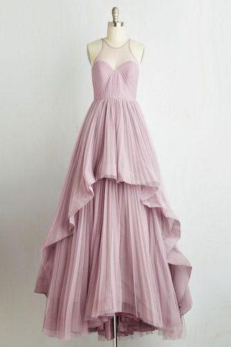 Halter Sheer Tulle Long Prom Dress, Evening Dress Featuring Ruffle Detailing