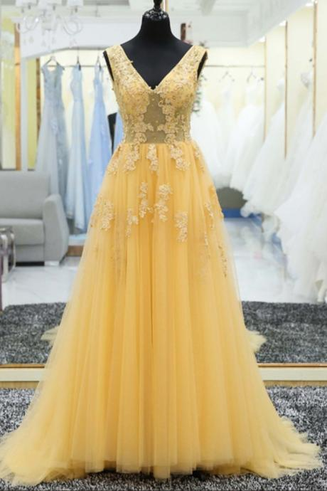 Beautiful Prom Dress Yellow Lace Appliques Elegant