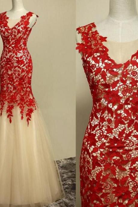 Lace Prom Dress , Amazing Prom Dress , Red Prom Dress , Mermaid Prom Dress , Long Prom Dress , Free Custom Made Prom Dress