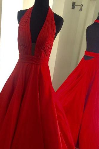 Red Halter Ruched Plunging A-line Long Prom Dress, Evening Dress Featuring Open Back