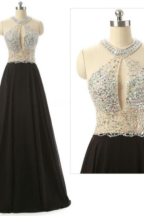 Black Halter Sheer Beaded Chiffon A-line Floor-Length Prom Dress, Evening Dress Featuring Keyhole Front