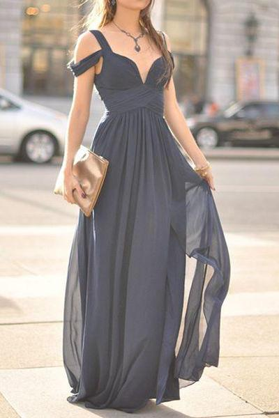 Prom Dress , Navy Blue Prom Dress , Long Prom Dress , Chiffon Prom Dress , Beautiful Prom Dress , Free Custom Made Dress