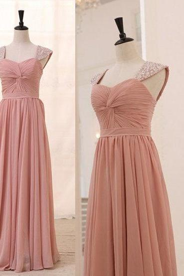 Sleeveless Ruched Beaded Chiffon A-line Long Prom Dress, Evening Dress