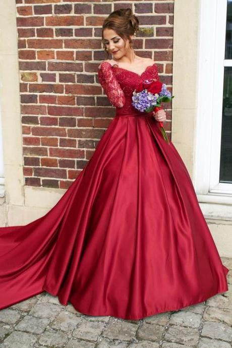 Burgundy Prom Dress , Burgundy Wedding Dress , Sweet 16 Dress , Long Trail Dress , Long Sleeves Dress , Free Custom Made Dress