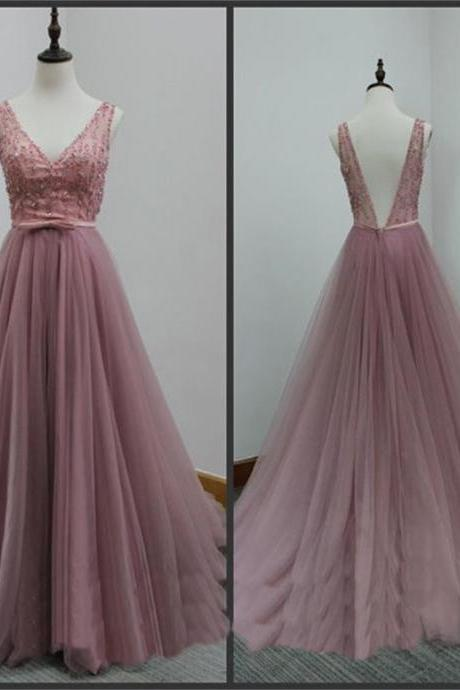 Beautiful Prom Dress , Elegant Prom Dress , Long Prom Dress , V Back Prom Dress , Beading Prom Dress , Free Custom Made Prom Dress