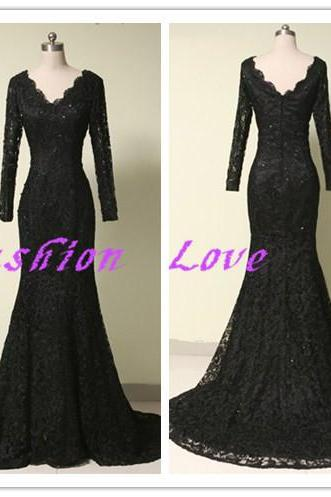 Lace Evening Dress Long Sleeves Black Evening Gowns 2016 Party Dress