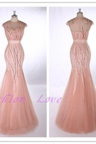 2016 New Formal Evening Dress , Floor Length Pink Tulle All Beading Evening Gown , Party Dress , Prom Dress