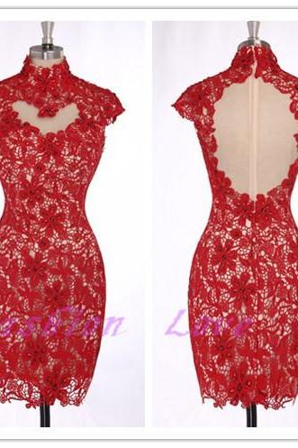 Red Lace Women Dress ,Knee Length Homecoming Party Dress,Sexy Backless Party Dress,Elegant Lace Dress
