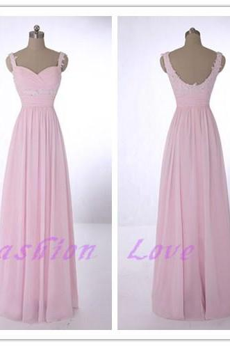 Pink Chiffon Prom Dress, Sweetheart Floor Length Prom Dress, Real Photos Custom Made Party Dress,New Long Evening Dress