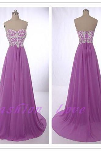 LG052-Purple Chiffon Prom Dress, Floor Length Zipper Back Prom Dress, Lace Appliques Party Dress, Custom Made Evening Dress