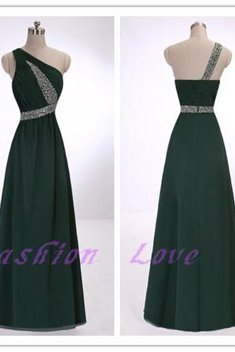 One Shoulder Dark Green Chiffon Prom Dress, Beading Chiffon Party Dress, Custom Made Floor Length Party Dress, Sexy Show Back Evening Dress