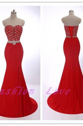 New Fashion Two Pieces Party Dress, Sexy Front Split Beading Party Dress, Red Prom Dress, Custom Made Real Photos Party Dress