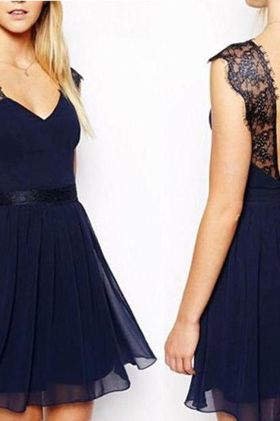 Navy Blue Chiffon Prom Dress , Lace Shoulder V Neck Prom Dress, Sexy Deep V Back Prom Dress, Mini Chiffon Prom Dress