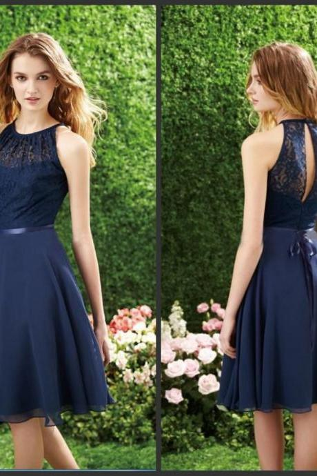 Navy Blue Lace Prom Dress, O-Neck Sexy Open Back Prom Dress , Lace Top Chiffon Skirt Prom Dress , Knee-Length Free Custom Made Prom Dress