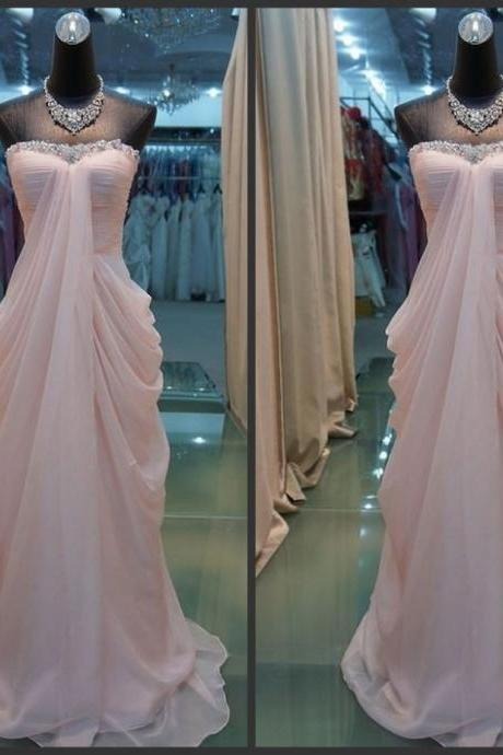 Light Chiffon Prom Dress, Shiny Beading Neck Prom Dress, Sweetheart Prom Dress, Floor Length Long Prom Dress,Free Custom Made Prom Dress