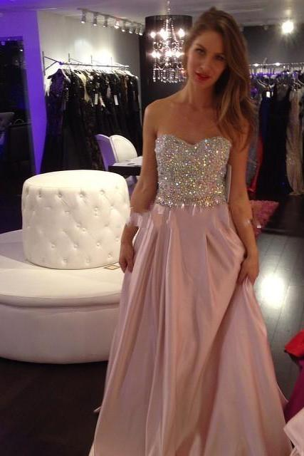 Rhinestones Beads Prom Dress, Pink Satin Long Prom Dress, Sweetheart Prom Dress, 2016 New Prom Dress, Free Custom Made Prom Dress