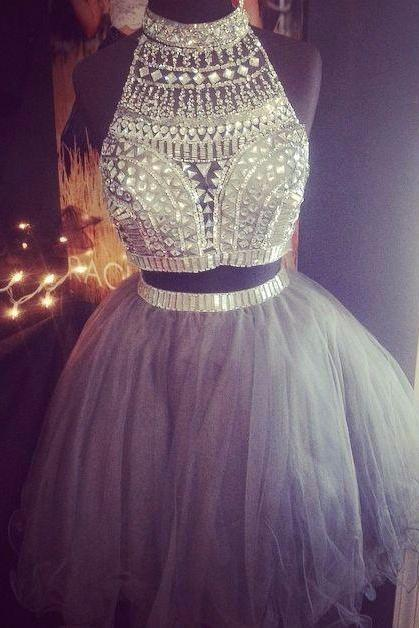 Rhinestones Top Prom Dress, Two Pieces Mini Prom Dress, Silver Crystal Tulle Prom Dress, Many Layers Tulle Skirt Lovely Prom Dress, Free Custom Made Prom Dress