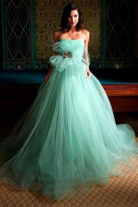 Mint Green Tulle Prom Dress, Shiny Crystal Waist Prom Dress, Strapless Mint Green Prom Dress, Free Custom Made Evening Dress, Mint Green Party Dress