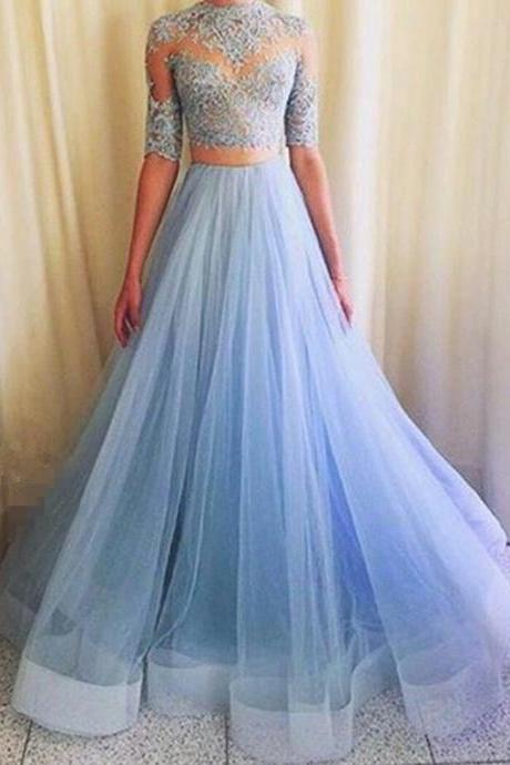 Sky Blue Prom Dress, Lace Top Half Sleeves Prom Dress, Two Pieces Prom Dress, Blue Tulle Skirt Prom Dress, Floor Length Free Custom Made Prom Dress