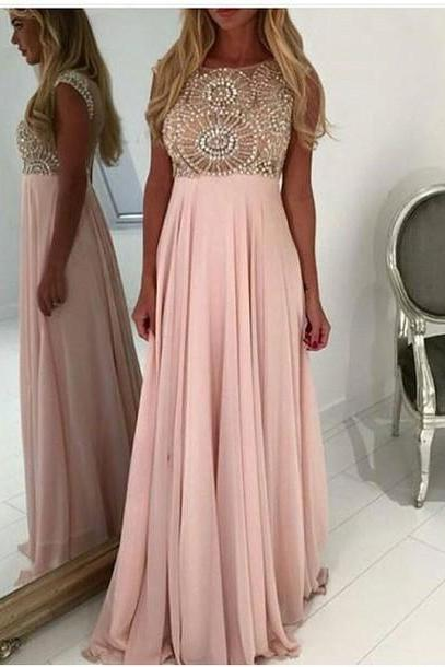 Full Beading Top Prom Dress, Long Chiffon Prom Dress, Sexy Sheer Tulle See Through Back Party Dress , Free Custom Made Women Dress , Formal Evening Dress