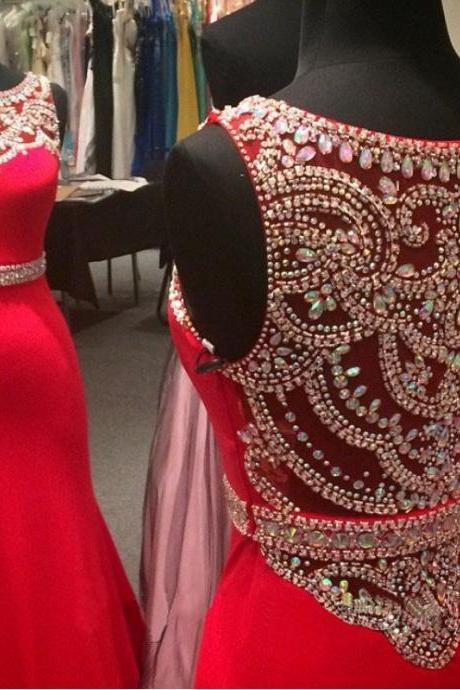 New Red Prom Dress , Sexy Mermaid Long Prom Dress, Full Beading Back Red Party Dress, Free Custom Made Prom Dress, Red Chiffon Prom Dress