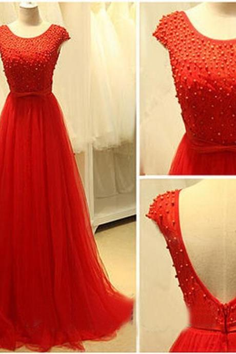 2016 New Red Prom Dress , Cap Sleeves Long Prom Dress , Sexy Deep V-Back Prom Dress , Pearls Zipper Back Prom Dress , Red Tulle Dress , Free Custom Made Party Dress