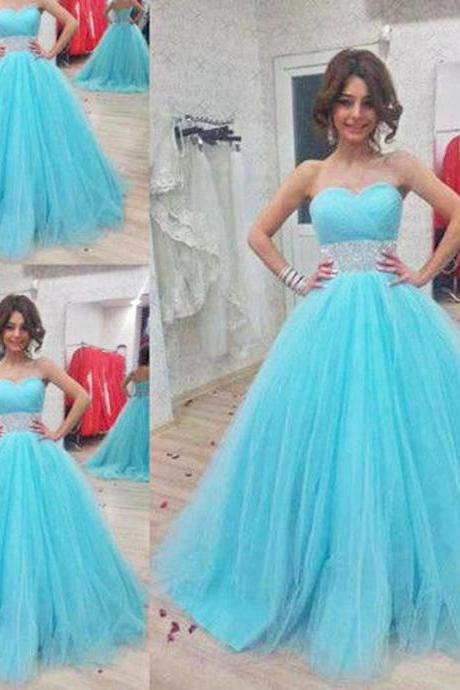 Sky Blue Prom Dress , A-Line Tulle Prom Dress , Shiny Beading Sweetheart Prom Dress , Floor Length Long Prom Dress , Free Custom Made Prom Dress