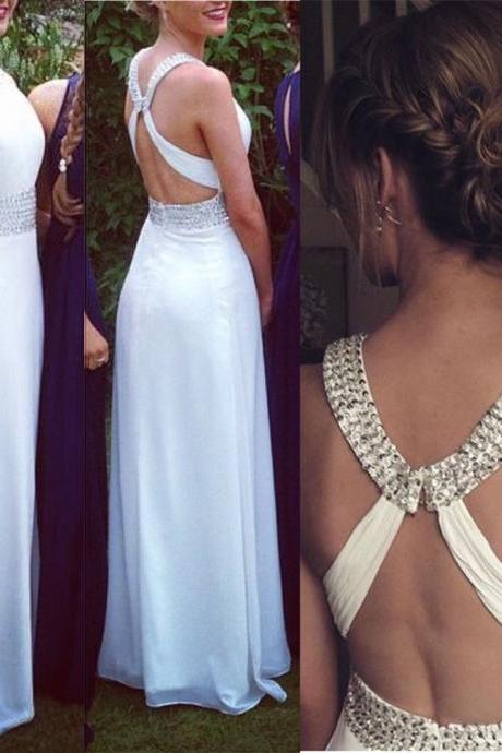 Fashion White Prom Dress , Shiny Beading Prom Dress , Sexy X Back White Prom Dress , A-Line Floor Length Long Prom Dress , Free Custom Made Prom Dress