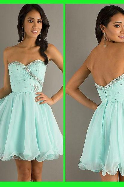 Mint Green Homecoming Dresses , Sweetheart Short Homecoming Dresses , Zipper Back Shiny Beading Homecoming Dress, Mini Party Dress