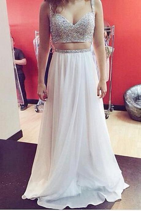 Sweetheart Shiny White Prom Dress , Floor Length Long Chiffon Party Dress , Free Custom Made Prom Dress