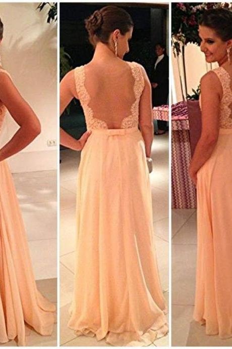 Champagne Prom Dresses , Elegant Lace Appliques Prom Dresses , Sexy See Through Back Prom Dresses , A-Line Floor Length Long Prom Dresses , Free Custom Made Prom Dresses