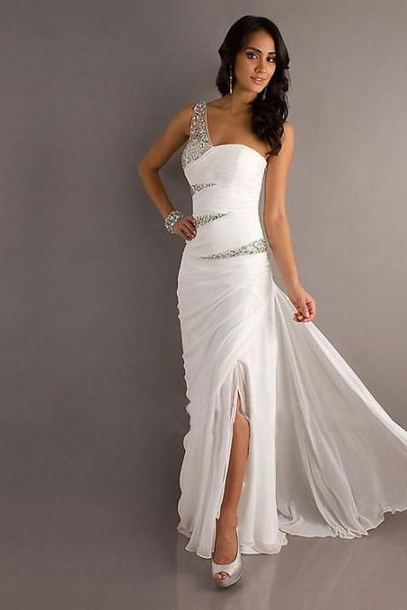 Fashion One Shoulder White Prom Dresses , Shiny Beading Prom Dresses , Front Split Sexy Prom Dresses , Floor Length Long Prom Dresses , Free Custom Made Prom Dresses