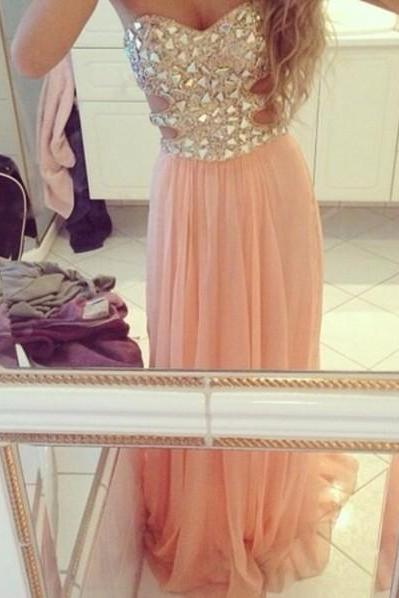 Shiny Beading Prom Dresses , Sweetheart Floor Lengtth Long Prom Dresses, Free Custom Made Prom Dresses , Zipper Dresses