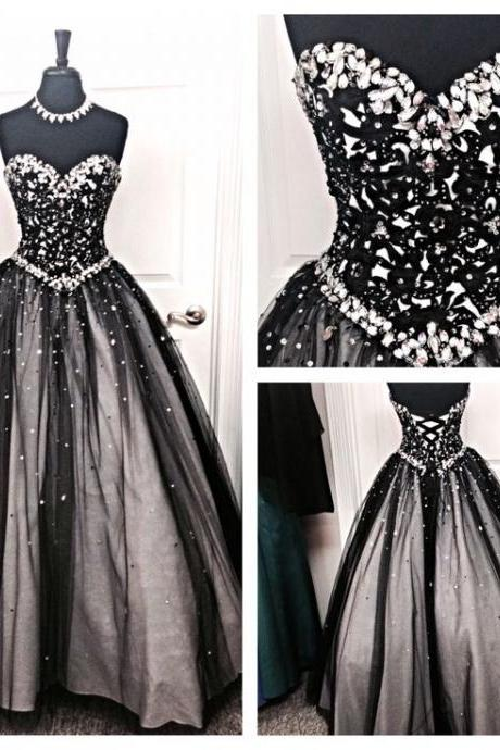 Silver Beading Prom Dresses , Puffy Skirt Black Prom Dresses , Sweetheart Lace Up Prom Dresses , Princess Style Prom Dresses , Long Prom Dresses , Free Custom Made Prom Dresses