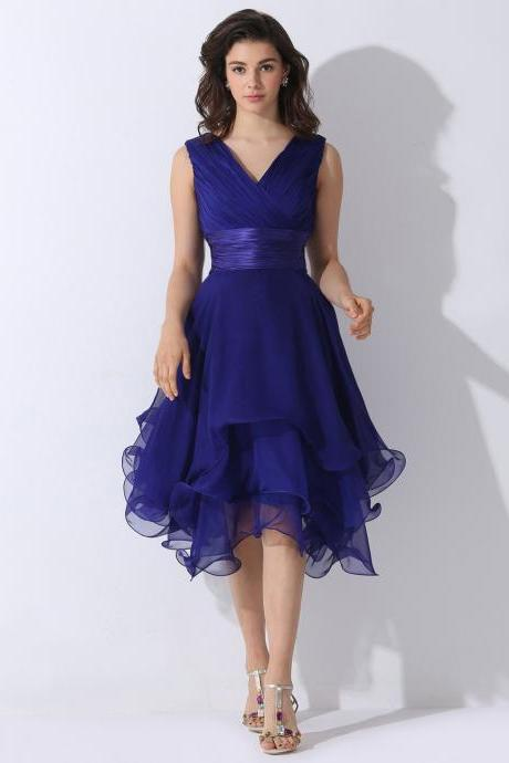 Prom Dress , Royal Blue Prom Dresses , Ruffles Skirt Prom Dresses , V-Neck Tank Prom Dresses , Pleat Chiffon Prom Dresses , Free Custom Made Prom Dresses