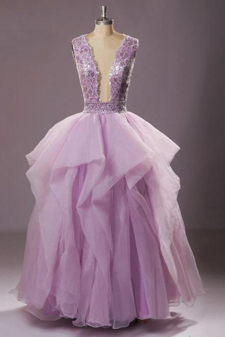 Purple Sleeveless V-neck Wedding Dress with Ruffles and Plunging Back